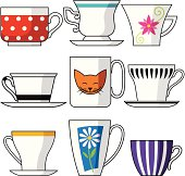Illustration of of different cups isolated on white.