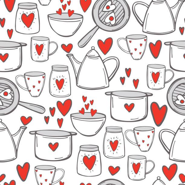 ilustraciones, imágenes clip art, dibujos animados e iconos de stock de tazas, tetera y ollas con corazones. patrón vectorial - conceptos y temas