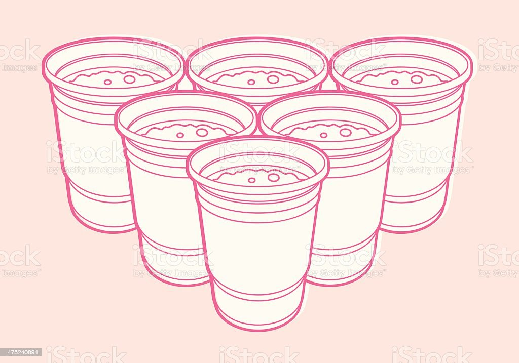 6 Cups vector art illustration