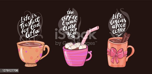 Cups with coffee and marshmallows, delicious hot drink drawn in cartoon flat style.  Vector  for design t-shirts typography cards and posters.