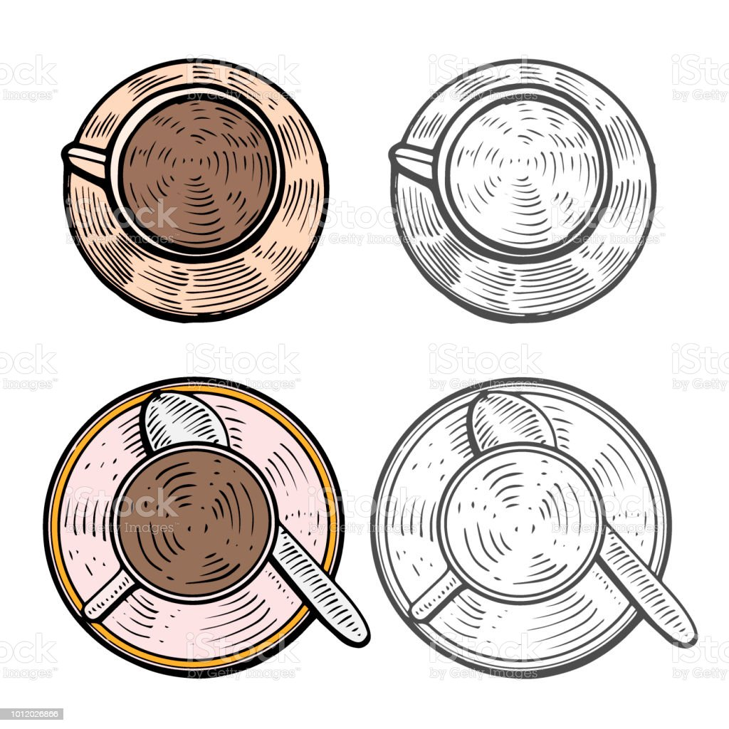 Cups with hot coffee vector art illustration