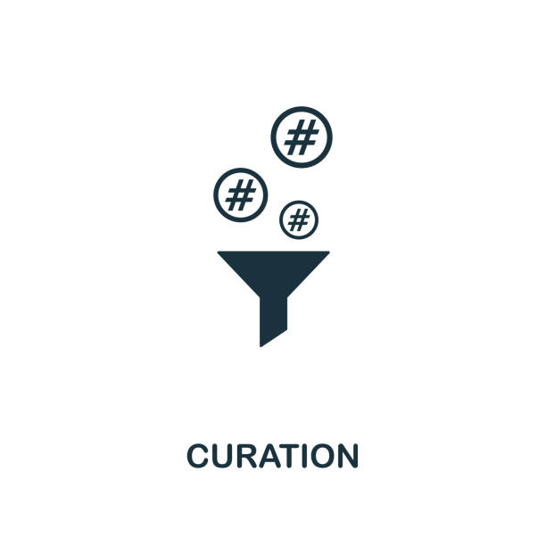 curation icon. creative element design from content icons collection. pixel perfect curation icon for web design, apps, software, print usage - curate stock illustrations