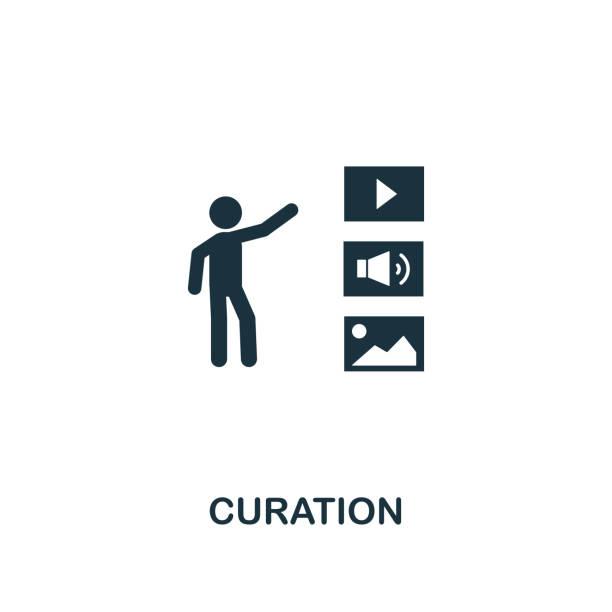 bildbanksillustrationer, clip art samt tecknat material och ikoner med ikon för curation. kreativ element design från innehålls ikoner samling. pixel perfekt curation ikon för webb design, apps, program vara, utskrifts användning - creative curation