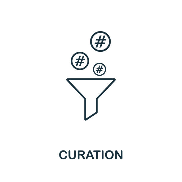 curation outline icon. thin line concept element from content icons collection. creative curation icon for mobile apps and web usage - curate stock illustrations