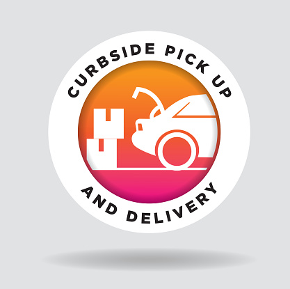 Curbside Pick Up and Delivery round label design