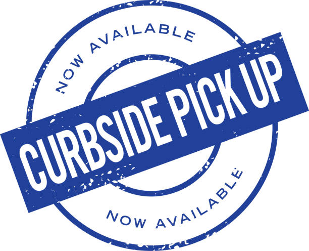 Curbside Pick Up round stamp label design Vector illustration of a stamp design with text. Useful for Curbside Pick up and delivery options for customers.  Print ready jpg included with EPS 10 vector download. curbsidepickup stock illustrations