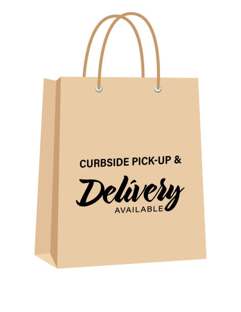 Curbside Pick-up And Delivery Bags vector art illustration