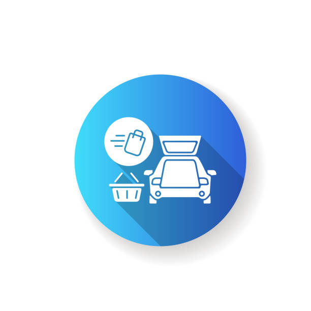 Curbside pickup flat design long shadow glyph icon Curbside pickup flat design long shadow glyph icon. Food delivery. Delivering groceries by automobile. Online supermarket products courier service. Silhouette RGB color illustration curbsidepickup stock illustrations