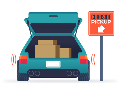 Delivering merchandise to the truck of a car or vehicle with curbside pickup service sign.
