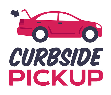 Open for delivery curbside pickup delivery offering vehicle or car with trunk open sign.