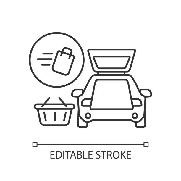 Curbside pickup pixel perfect linear icon Curbside pickup pixel perfect linear icon. Food delivery. Delivering groceries by automobile. Thin line customizable illustration. Contour symbol. Vector isolated outline drawing. Editable stroke curbsidepickup stock illustrations