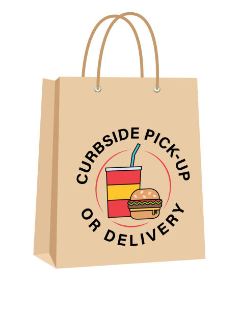 Curbside Take-Out Or Delivery Bags With Burger And Soda vector art illustration