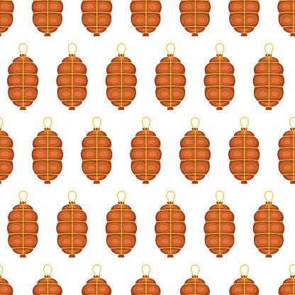 Cured Salami Seamless Pattern