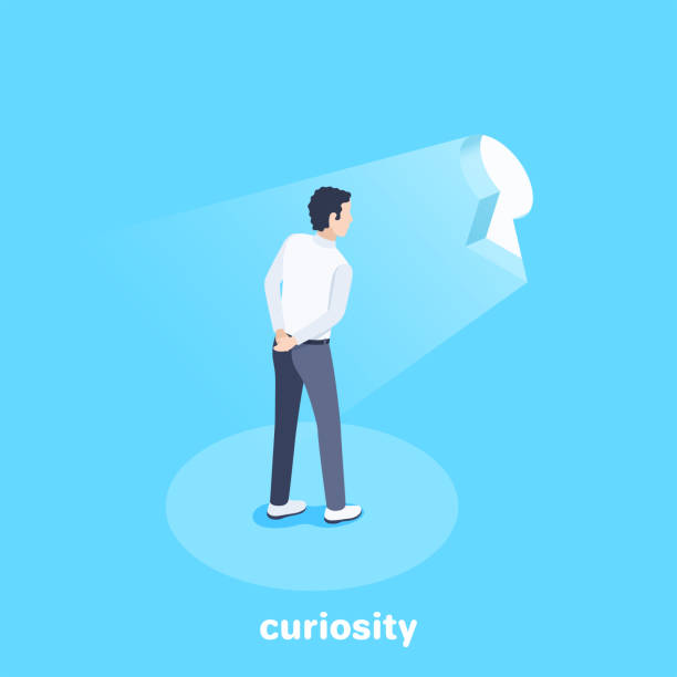 neugier - mann tür heimlich stock-grafiken, -clipart, -cartoons und -symbole