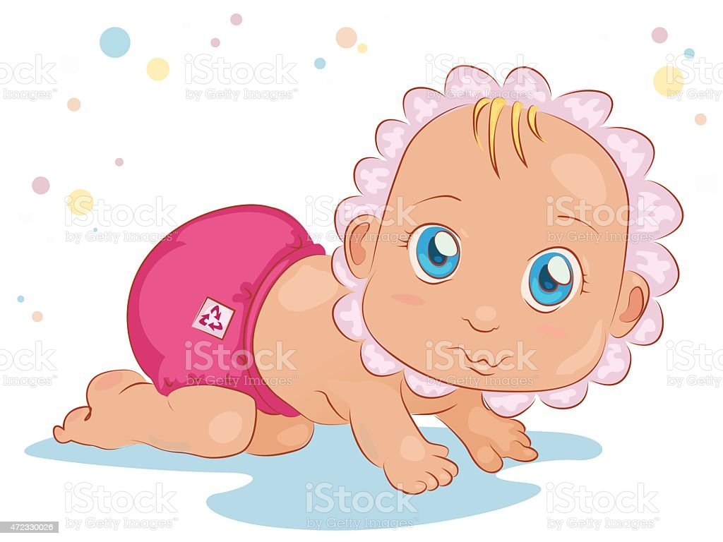 curious baby vector art illustration