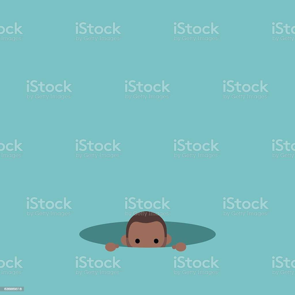 Curious black man hiding in the hole and prying vector art illustration