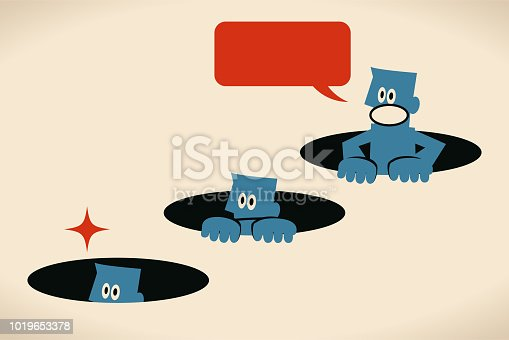 Blue Little Guy Characters Vector art illustration.Copy Space. Curious blue man hiding in a hole and peeking.