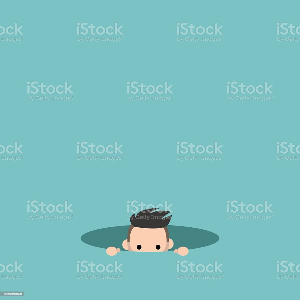 Curious boy hiding in the hole and prying vector art illustration