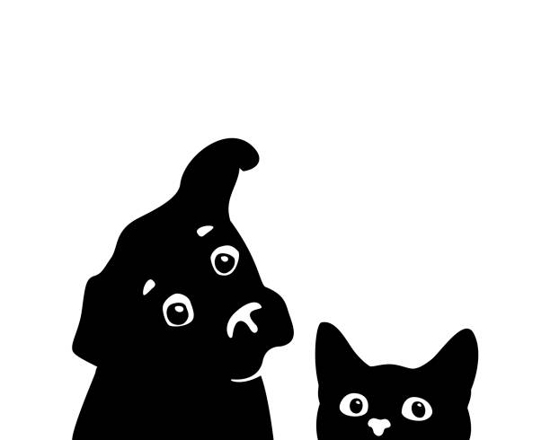 Curious cat and dog muzzles. Vector Curious cat and dog muzzles. Sticker on a car or a refrigerator dog stock illustrations