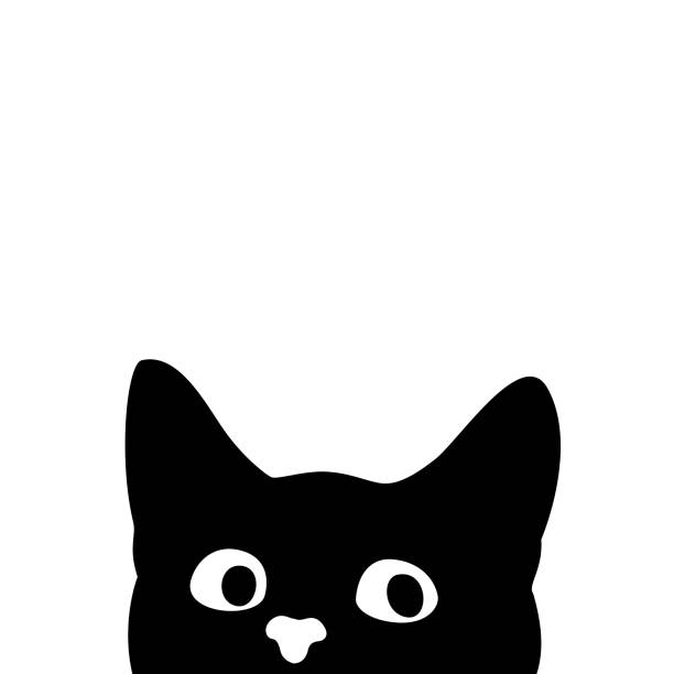 curious cat. sticker on a car or a refrigerator - abstract silhouettes stock illustrations