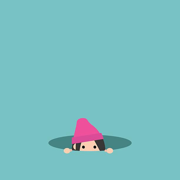 illustrazioni stock, clip art, cartoni animati e icone di tendenza di curious girl hiding in the hole and prying - donna si nasconde