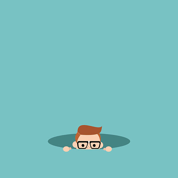 Curious nerd hiding in the hole and prying editable flat vector illustration, clip art curiosity stock illustrations
