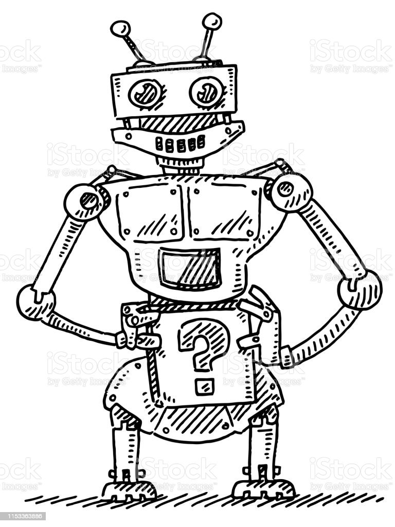 Hand-drawn vector drawing of a Curious Robot With a Question Mark Box...