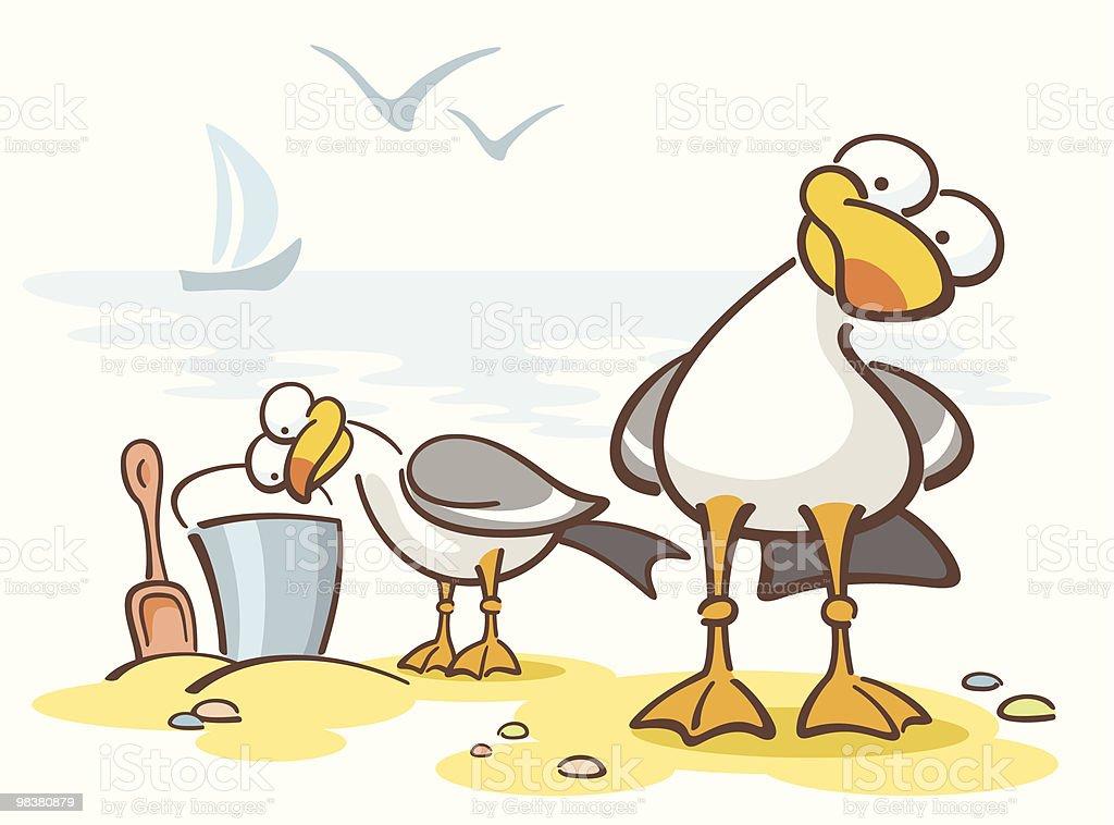 curious seagulls with bucket in cartoon stock vector art more rh istockphoto com cartoon seagull pictures cartoon seagull postcards