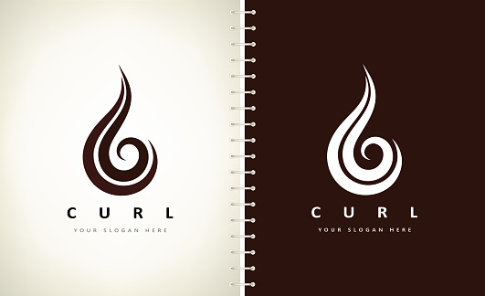 Curl hair vector. Beauty salon design.