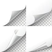 Curl paper corners vector set on transparent background.