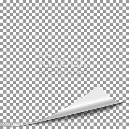 istock Curl peel paper page. Flip magazine page, turn paper corner vector. 952943986