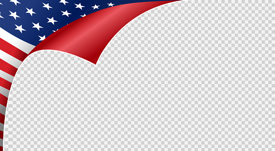 Curled corner American flag isolated  on png or transparent  background,Symbols of USA , template for banner,card,advertising ,promote,ads, web design, magazine, news paper, vector illustration