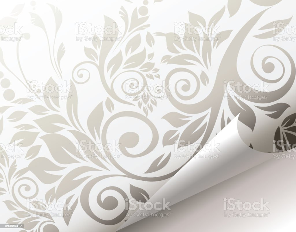 Curled corner of floral background page. royalty-free curled corner of floral background page stock vector art & more images of angle