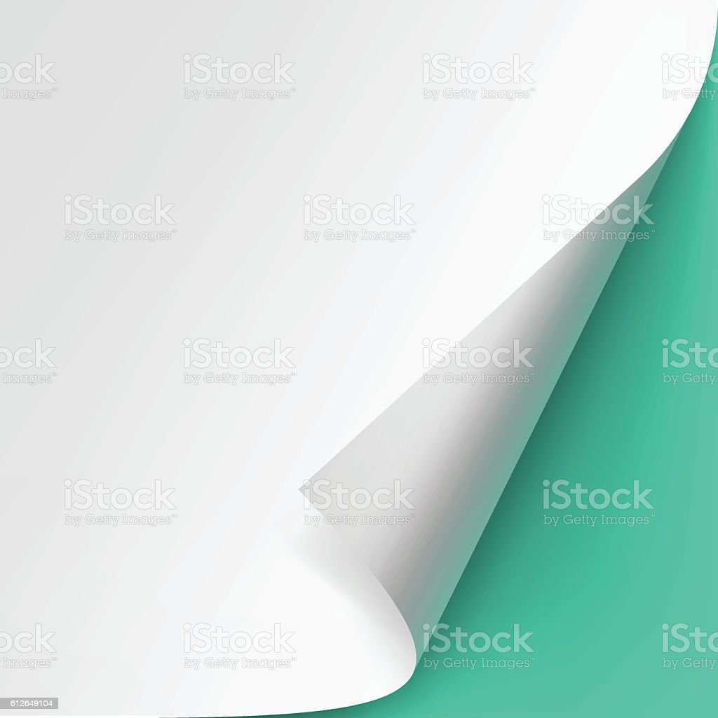 Curled corner of paper Isolated Green Background vector art illustration