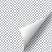 Curled corner of paper on transparent background