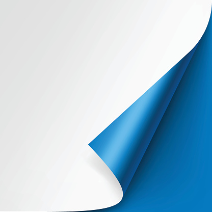 Curled Corner Of White Paper On Blue Background 0명에 대한 스톡 벡터 아트 및 기타 이미지