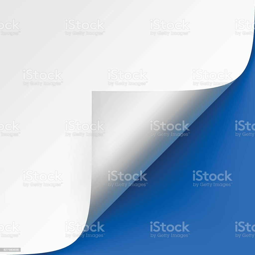 Curled corner of White paper with shadow on Blue Background