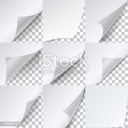 Curled corners paper set, advertising sticker template. Marketing business document border for magazine. Vector illustration