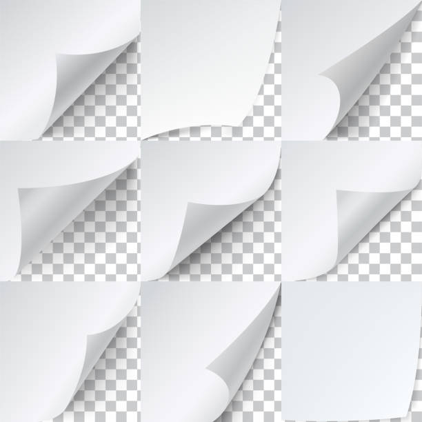 geschwungene ecken papierset, werbeaufkleber-vorlage - buchseite stock-grafiken, -clipart, -cartoons und -symbole