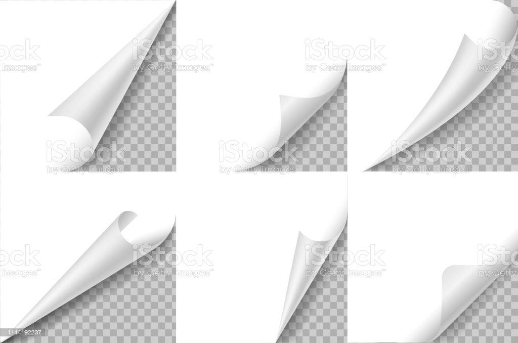 Curled corners set. Paper page curl corner, flip turn fold sheet....
