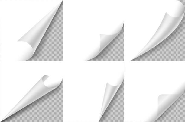 말린 된 모퉁이 설정 합니다. 용지 페이지 컬 코너, 플립 턴 폴드 시트. 스티커 곱슬 각, 구부러진 테두리 메모장. 사실적인 벡터 디자인 - 말기 stock illustrations