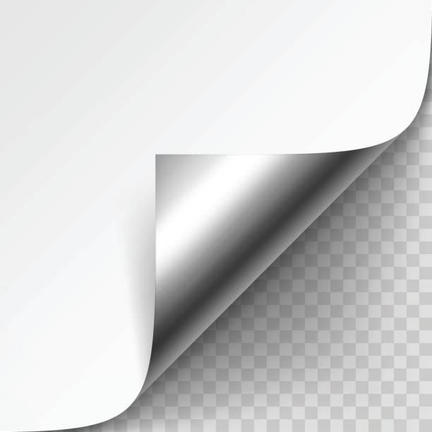 curled metalic corner of white paper with shadow mock up - aluminum foil roll stock illustrations, clip art, cartoons, & icons