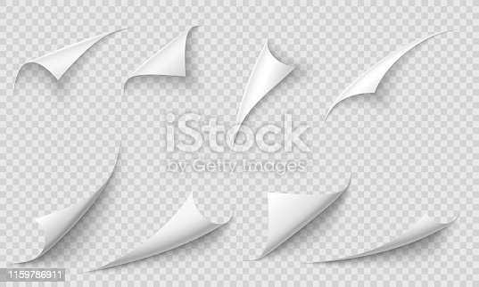 Curled page corner. Paper edges, curve pages corners and papers curls with realistic shadow. Flipping book page, blank curling papers corner. Isolated 3d vector illustration signs set