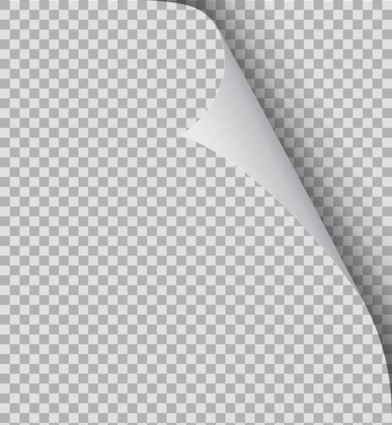 gewellte seite papier ecke. papierfalten, kurvenklappenecke und papierwinkel auf isoliertem hintergrund. flipping buchseite, gebogener rahmen des notizblocks. blatt-aufkleber mit curl-effekt. vektor eps10 - buchseite stock-grafiken, -clipart, -cartoons und -symbole