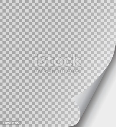 istock Curled page paper corner set. Paper fold, curve flip corner and papers curls angle. Flipping book page, bent border of notepad. Leaf sticker with curl effect. Isolated vector illustration 1185112553