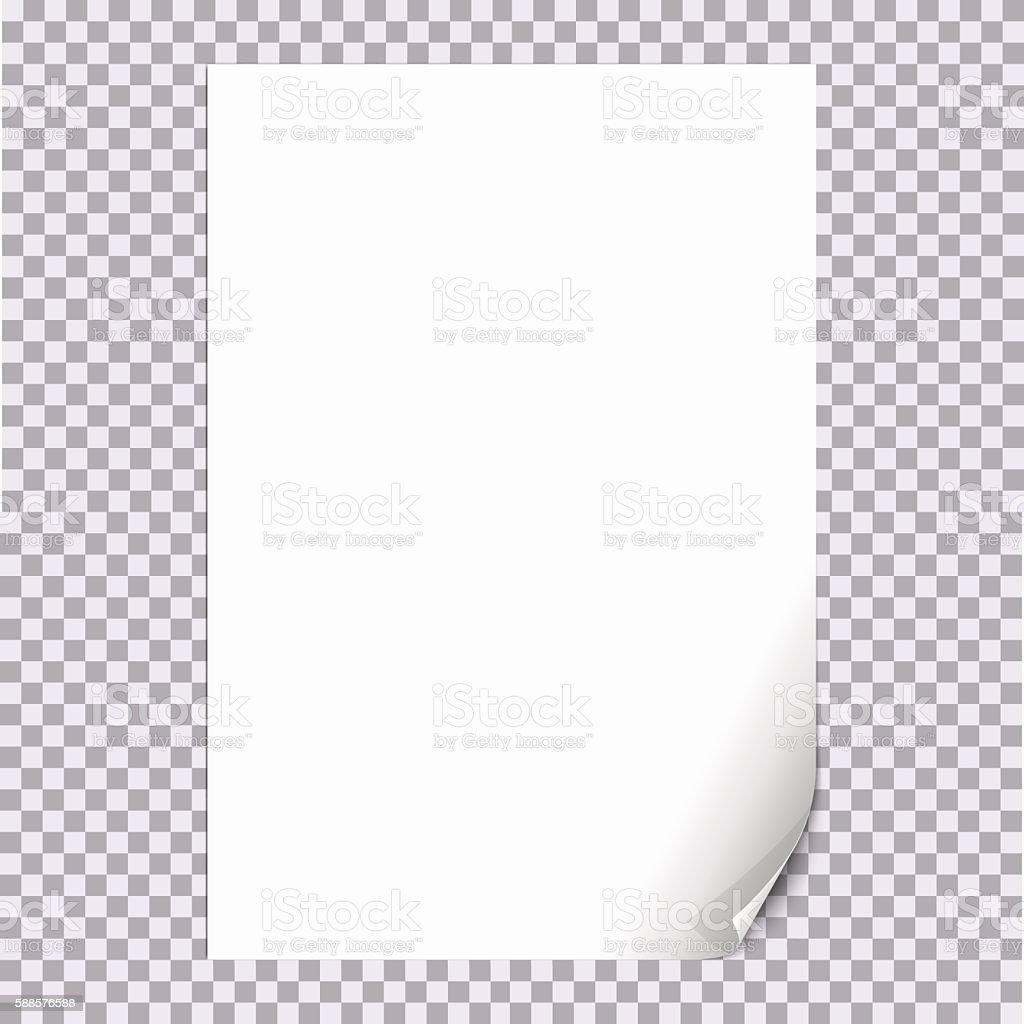 Curled Paper Corner A4 with transparent background vector art illustration