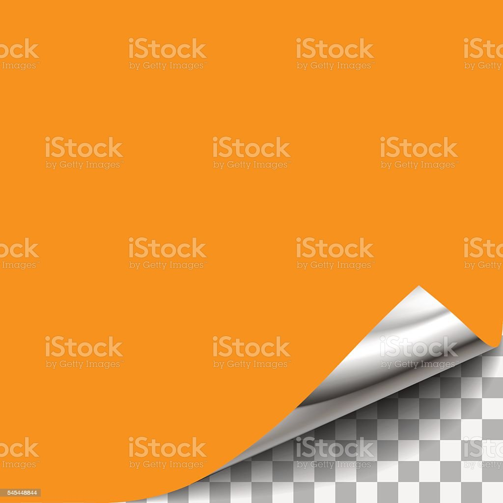 Curled Paper Corner with Transparent Background. vector art illustration