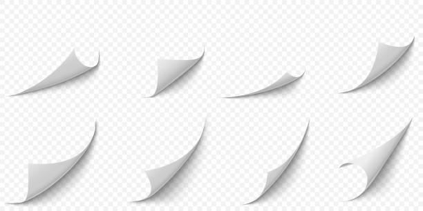 gewellte papierecken. kurvenseite ecke, seiten rand curl und gebogen papiere blatt mit realistischen schatten vektor illustration set - buchseite stock-grafiken, -clipart, -cartoons und -symbole
