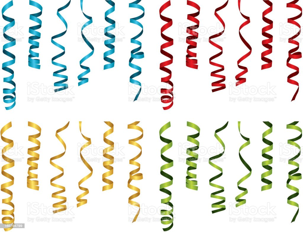 Curled party ribbons in blue, red, yellow, and green vector art illustration