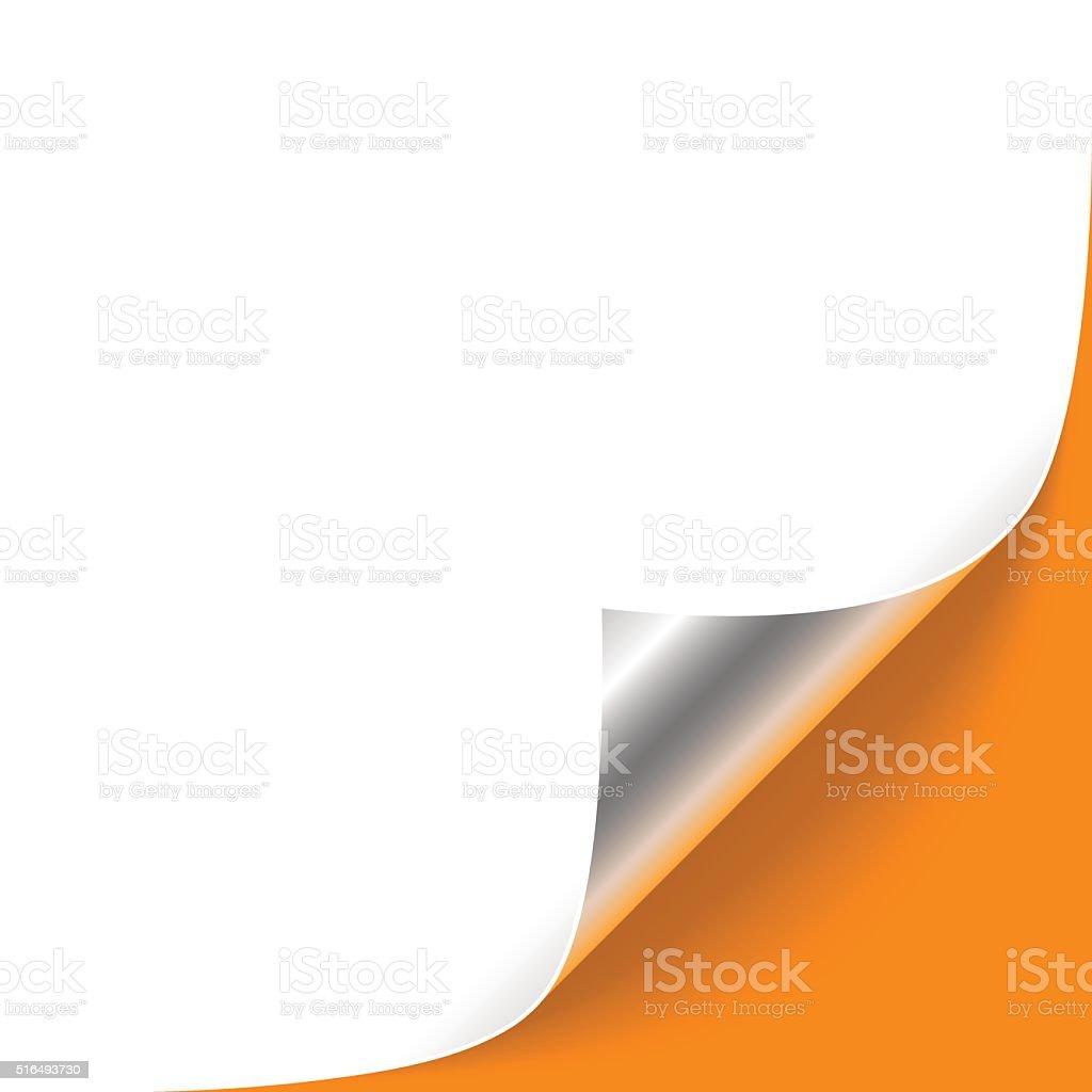 Curled Silver Corner on Orange Background vector art illustration